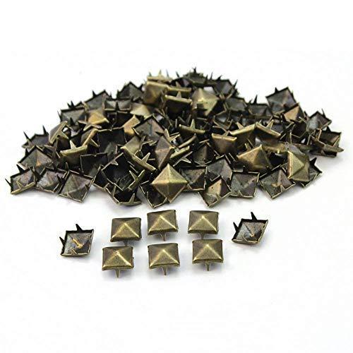 Weddecor 9mm Piramide Studs Vierkante Spike Punk Hoofd voor Leathercrafts, DIY Projects, Tassen, Riem, Schoen, Decoratieve Kleding, Jeans, Brons, 100 stuks