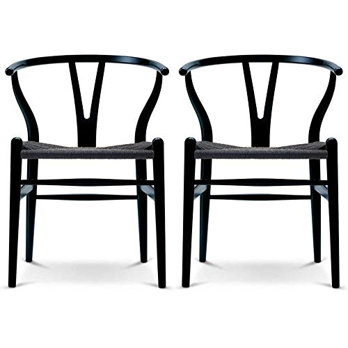2xhome Black Set of 2 Wishbone Wood Armchair with Arms Open Y Back Mid Century Modern Contemporary Office Chair Dining Chairs Woven Seat Brown Living Desk