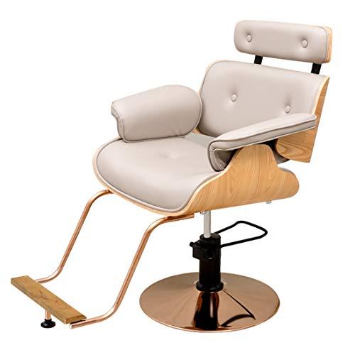Verstelbare stylingstoel - Hoge bureaustoel met Lumbar-ondersteuning - In hoogte verstelbare zitting, hoofdsteun - Pu stoelkussen met voetsteun Geel
