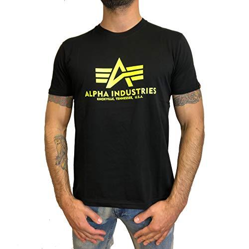 Alpha Industries T-Shirt Basic viele Farben (M, Schwarz/Neon Gelb)