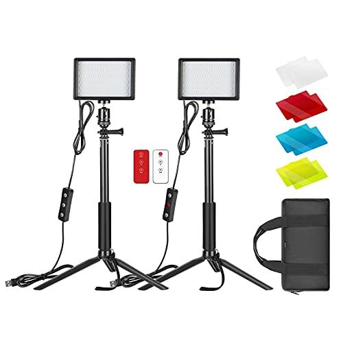 Neewer 2 Packs Verbessertes LED Videolicht mit 433Hz Fernbedienungsset - Dimmbares 5600K USB Videolicht mit Stativständer/Farbfiltern für Tisch/neidrige...