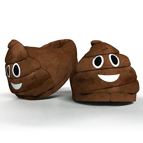 Desire Deluxe Zapatillas Casa Invierno con Figura de Emojis en Forma de Caca Sonriente - Pantunflas Invierno de Talla Universal para Hombre, Mujer, Niño y Niña