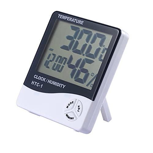 MKOJU Medidor De Humedad De Temperatura Digital Electrónico LCD Termómetro De Interior Al Aire Libre Higrómetro Reloj De Estación Meteorológica