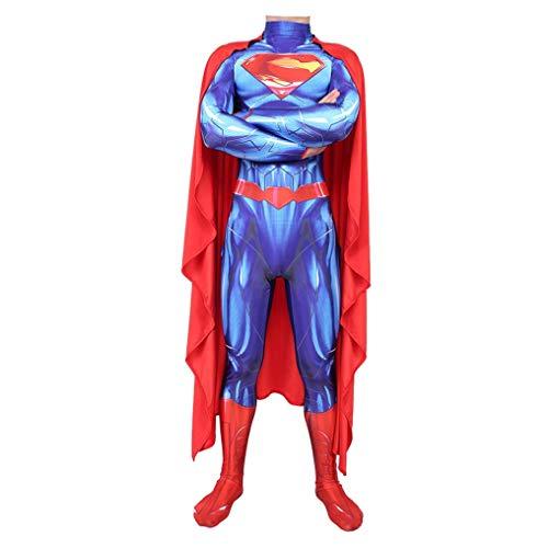 KIDsportxie Justice League Superman Cosplay Kinder Elastic Bodysuit Halloween Movie Heroes Jumpsuit-Thema-Partei-Abendkleid Cruise Catsuit,Adult M(160~165cm)-Blue (with Cloak)