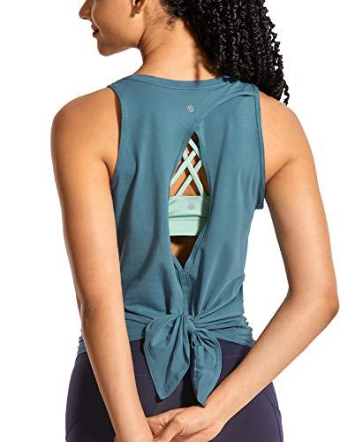 CRZ YOGA Women's Pima Cotton Workout Sleeveless Shirts Round Neck Yoga Vest Open Back Sport Tank Tops Slate Blue Medium
