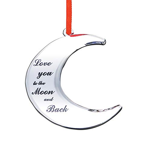 Holiday Jingle Love You to The Moon and Back Stunning Christmas Tree Ornament – Couples Baby's Christmas Decoration – 4 x 3.25-inch Moon Ornament – with Ribbon