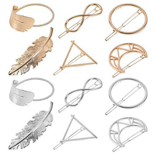 12 Stück Metall Haarnadeln Geometrie Haarklammern Haarspange Federkreis Dreieck Schmetterling Mondform Haarnadeln für Mädchen Frauen Haarschmuck Styling Schmuck