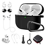 AirPods Pro Case,10 in1 Accessories Set Silicone Protective Cover, Compatible with Apple AirPods 3 Charging Case,Ear Hooks/Keychain/Brush/Carrying Box/Watch Airpods Holder