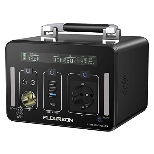 FLOUREON Tragbarer Powerstation 500Wh/140400mAh Mobiler, Energiestation Akkugenerator mit Reines Sinus, LCD Schirmanzeige mit LED-Leuchte, AC/DC/USB QC3.0/Typ C-Ausgang PD60W, Notstromversorgung