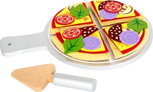 Small Foot 11690 Pizza-Set aus Filz und Holz, mit Klettverschlüssen, ab 2 Jahren Toys, Multicolor, Stoff
