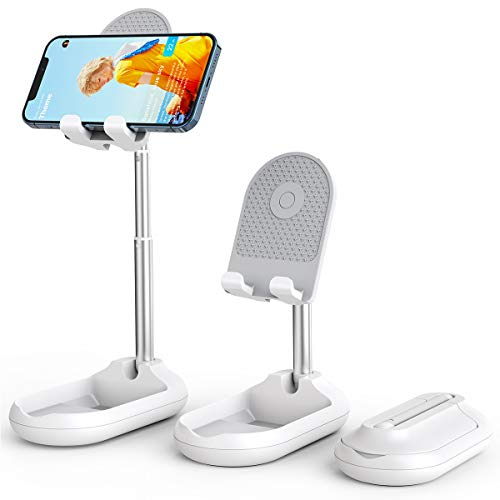 Licheers Cell Phone Stand, Angle Height Adjustable Phone Stand Holder for Desk, Fully Foldable iPhone Stand Holder, Case Friendly Compatible with All Mobile Phone/iPad/Kindle/Tablet (White)