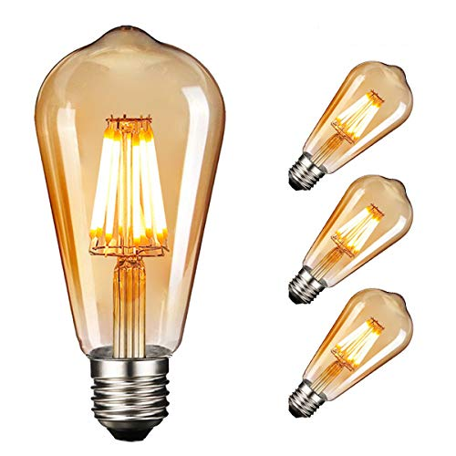Retro LED Edison Glühbirne E27, NUODIFAN 3 x 8W Vintage Glühbirne Dimmbar LED Filament Birne Lampe Amber Glas (800 Lumens, 2700K) Ideal für Dekorative Beleuchtung mit Antike Nostalgie Stil