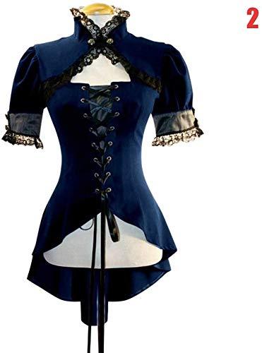 Huaheng Vintage dames gothic punk korte mouwen kant jas mantel & middeleeuwen rood lichaam X-Large bruin
