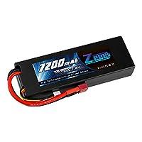 ゼエエ(Zeee)7.4V 7200mAh【令和最新版】リポバッテリー 大容量リチウムポリマーバッテリー 80C 2S ハードシェル接続Tプラグ付き 1/8と1/10 RCカー用 ラジコン玩具バッテリー RCカー用 無人機用など