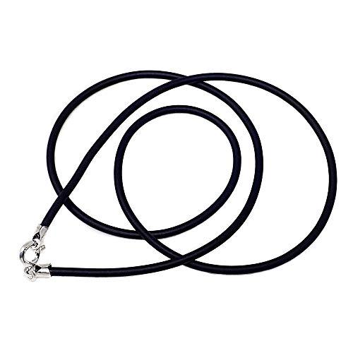 Cordón Caucho Terminaciones Plata Ley 925M 40cm. 2mm. Cierre Reasa Unisex