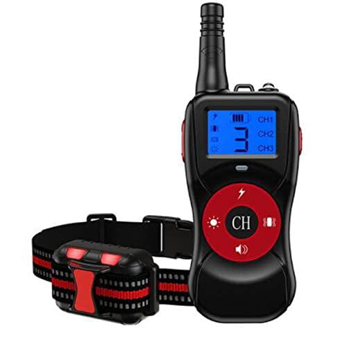 Collar de adiestramiento para Perros, Dispositivos de disuasión de ladridos a Control Remoto con Bloqueo de Seguridad y Collar de luz Intermitente, Recargable por USB, Collar antiladridos para Perros