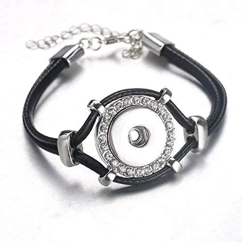 RQWY Armband Neue Ankunft Kristall Metall Leder Snap Armbänder Armreifen Snap Schmuck Taste Armband Für Frauen Armbänder