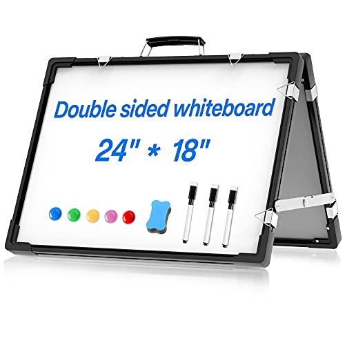 Pizarra Magnética Blanca Doble Cara - Plegable Pizarra Borrable con Bolígrafos y Esponja para Escuela, Hogar, Oficina, 60 x 45 cm