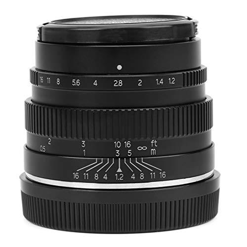 Asixxsix Lente manual, lente de câmera sem espelho, destaque de ângulo amplo de alta aparência para porta EOS M (preto)