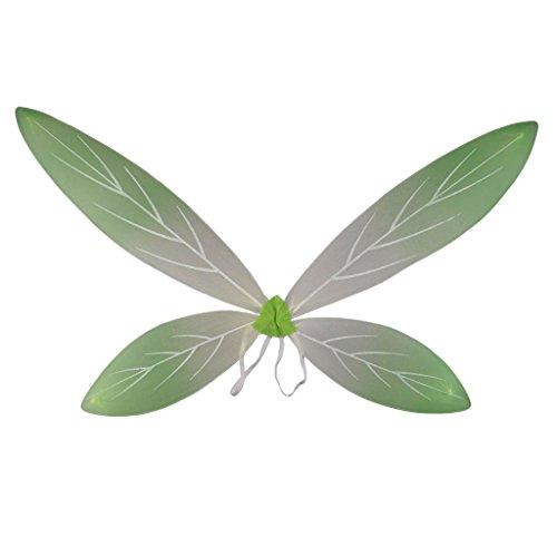IPOTCH Glitzer Elfen Flügel Fee Elfe Kostüm Schmetterlingsflügel l für Karneval, Fasching, Halloween, Motto Party / Verkleidung - Grüner Gradient, 90 x 56 cm