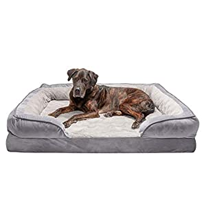 Furhaven Pet Dog Bed – Orthopedic Plush Velvet Waves Perfect Comfort Traditional Sofa-Style Living Room Couch Pet Bed with Removable Cover for Dogs and Cats, Granite Gray, Jumbo Plus
