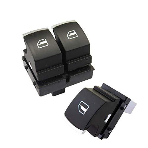 Interruptor de control de ventana de 2 puertas cromado cromado para VW Golf 5 6 Fit para Jetta MK5 Fit para Passat B6 EOS Caddy 5K3 959 857 5ND 959 855 Interruptor de control de ventana de coche