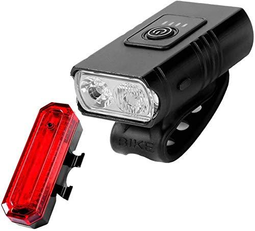 ZHENG Luz Bicicleta Faros de Bicicleta, Luces Superiores for Bicicletas, con indicador de Potencia, indicador Lateral, 6 Modos de iluminación, Recargable USB, for Carretera y montaña, 3 (Color : 2)