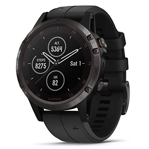 Garmin Fenix 5 Plus, relógio GPS, cinza carbono DLC titânio com pulseira de silicone preta, 010-01988-20
