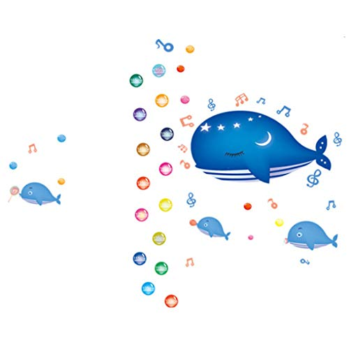 Cartoon Animals Growth Chart Wall Stickers Height Measurement Removable Wall Decals Home Decor Art Mural Baby Boys Girls Kids Bedroom Kitchen Room Decoration (Whale Height Measurement)