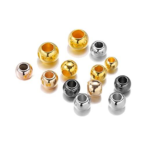 1 lote Dia 4 6 8 10 12 mm Perlas de agujero grande Perlas espaciadoras de color de rodio de oro rosa para hacer joyas de bricolaje (no de metal) Accesorios-Multicolor, 8 mm x 100 piezas