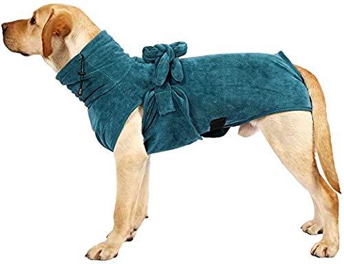 Tokenhigh Hund Bademantel Handtuch,Dryup Cape Hundbademantel mit Umhang Design,Super Absorbent Schnelltrocknen Einfache Trage mit verstellbarem Riemen Gürtel Nachthemd Bademantel Hund Pyjama (L)