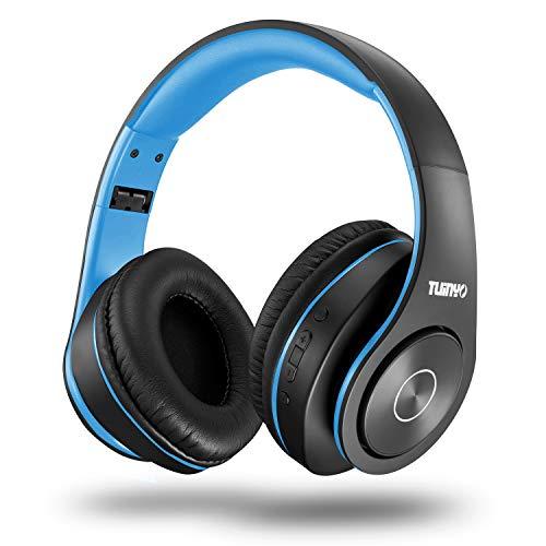 TUINYO Bluetooth-Kopfhörer Over Ear Hi-Fi Stereo Headset drahtloser Kopfhörer mit tiefen Bässen, weichen Ohrenschützern aus Memory-Protein, eingebautem Mikrofon Kabel PC/Handy/Fernseher … …