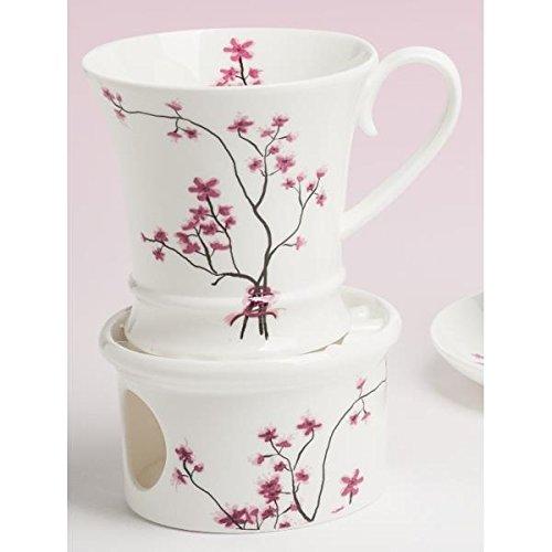 TeaLogic Tasse, Becher auf Stövchen Cherry Blossom Kirschblüten weiß rosa