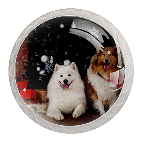 Perilla redonda de metal para armario o cajón, juego de 4, diseño navideño con perro y mascota