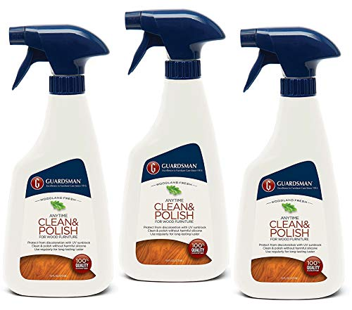 Guardsman Clean & Polish For Wood Furniture - Woodland Fresh - 16 oz Spray - Silicone Free, UV Protection - 461100 (3 PACK)