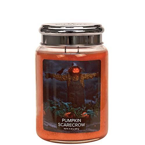 Village Candle Duftkerze im Glas, Ghost Kürbis Vogelscheuche Pumpkin Scarecrow Orange