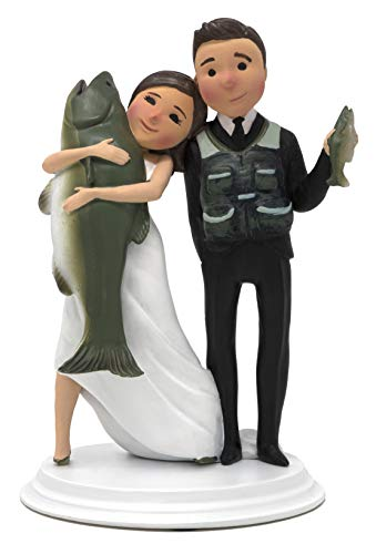 Wedding Cake Toppers - Unique and Funny Fishing Wedding Cake Toppers Bride and Groom (Light Skin - Dark Hair)