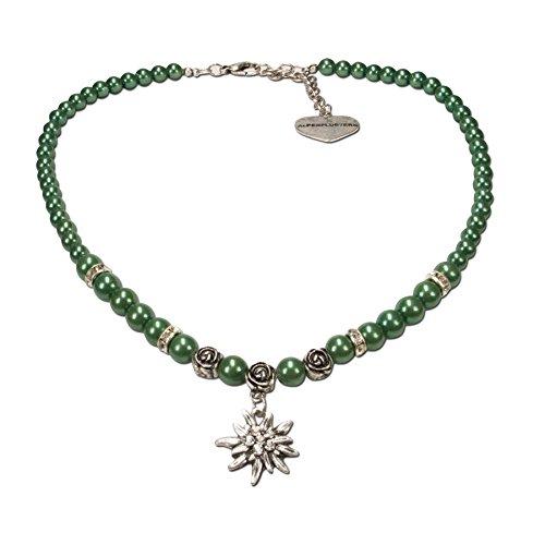 Alpenflüstern Perlen-Trachtenkette Fiona mit Strass-Edelweiß klein - Damen-Trachtenschmuck Dirndlkette grün DHK122