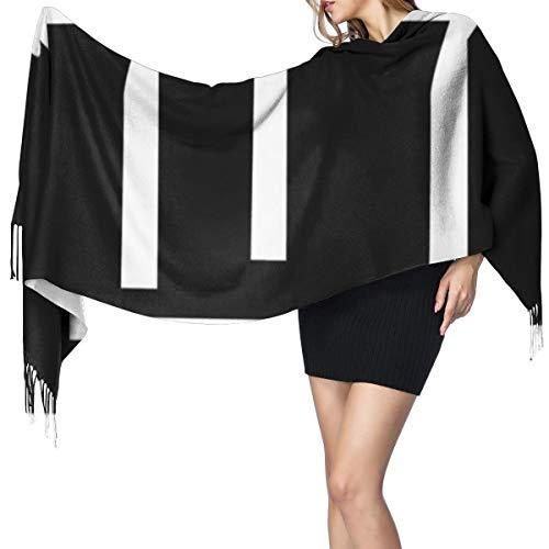 Tre arti marziali bianco cintura su nero sciarpa scialle super morbido con nappa moda caldo grande scialle invernale stola per donne