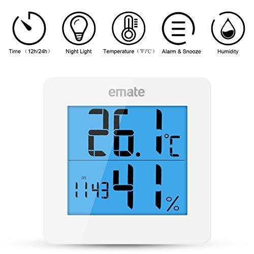 YJHome Thermometer Hygrometer Digitaal LCD-scherm Hygrometer Wekker Meter voor temperatuur en vochtigheid Thermohygrometer Meting voor kamer Kantoor Slaapkamer (met batterij)