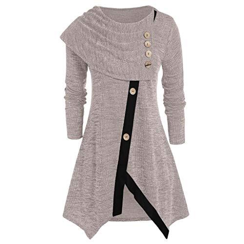 Eaktool Women Plus Size Long Sleeve T-Shirt Tops Asymmetrical Space Fashion Button Blouse Tunic Sweater(Khaki,X-Large)