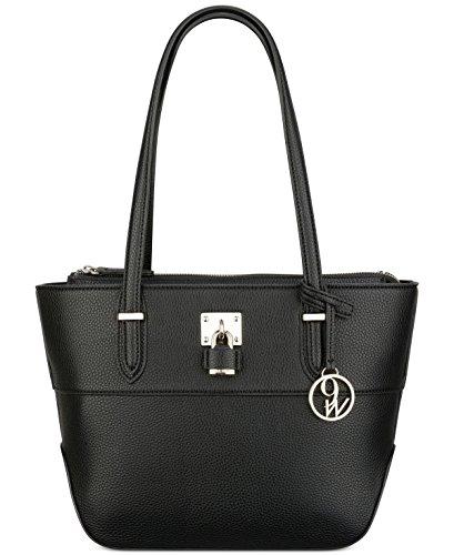 Nine West Womens Reana Embossed Double Strap Tote Handbag Black Medium