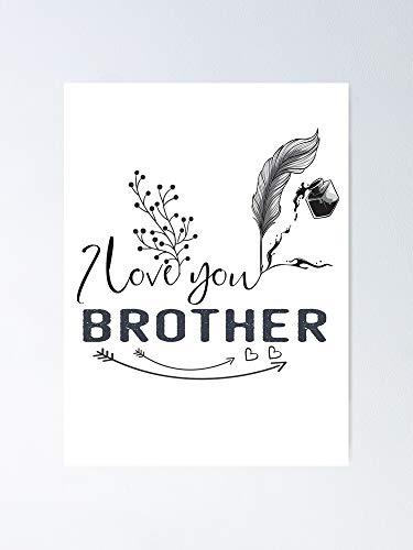 """AZSTEEL Póster del día de San Valentín con texto en inglés """"I Love You Brother Sister Brotherdaughtersonaunt Unclecousinhappy"""