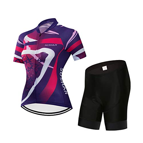X-Labor Maillot de ciclismo para mujer de secado rápido, camiseta de manga corta + pantalones cortos con acolchado 3D para el asiento MTB, ropa de ciclismo, motivo, 1 L