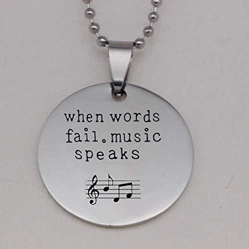 WSBDZYR Co.,ltd Collar de Moda Collar de Acero Inoxidable 304 Cuando fallan Las Palabras.Music Speaks Collar de Notas Musicales Colgante de púa de Guitarra Collares de Parejas Impresión