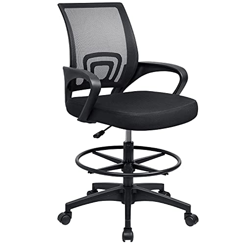Furmax Drafting Chair Tall Office Chair with Ergonomic Back Drafting Table Chair Adjustable Standing Desk Chair with Footrest Ring and Arms (Black)