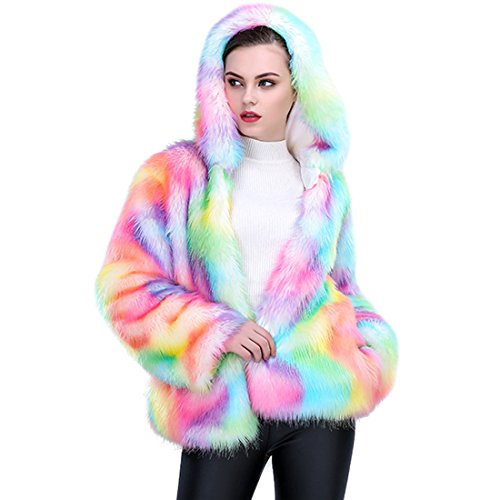 JTENGYAO Women Faux Fur Coat Rainbow Color Plus Size Winter Thick Outerwear Fur Jacket Parkas With Hood