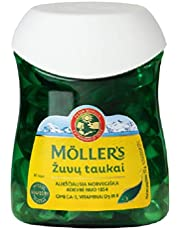 Moller's Fish & Cod Liver Oil 80 Softgels Omega 3, Made in Norway