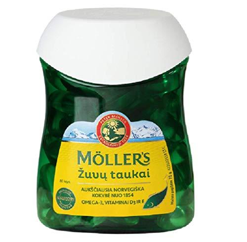 Moller's Aceite de hígado de pescado y bacalao 80 cápsulas de Omega...