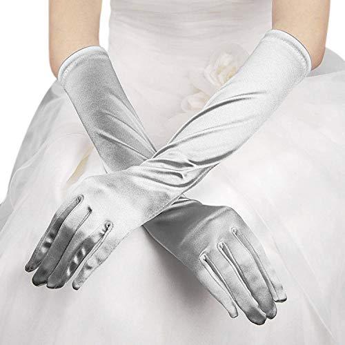 Guantes largos de satén, de noche, de Opera, para boda, mujer, elegante,...